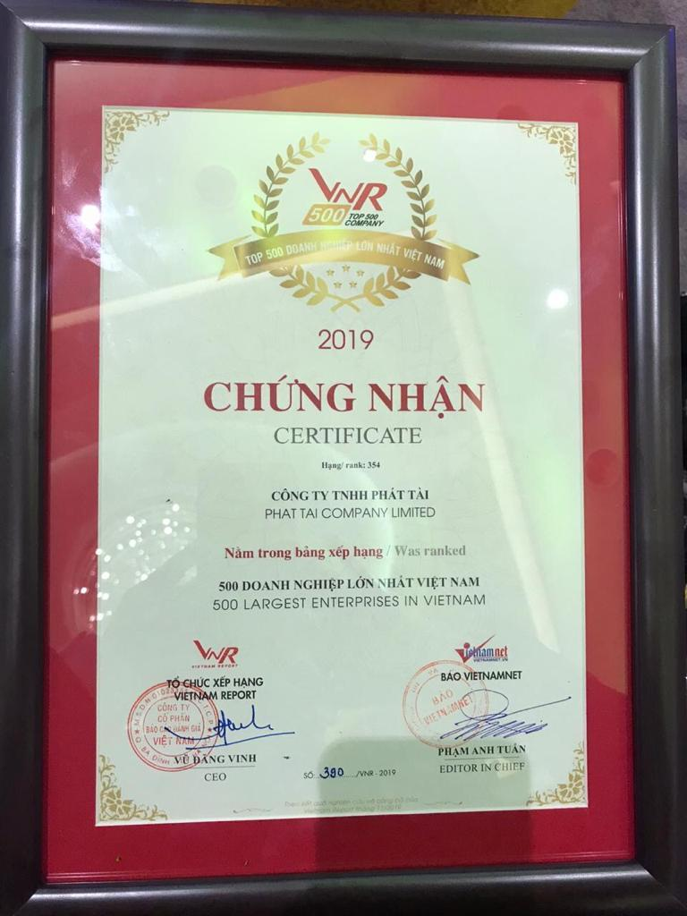 Phat Tai Co., Ltd. is recognized as the top 500 largest enterprises in Viet Nam